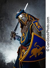 Medieval knight on abstract background