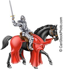 Medieval Knight on Black Horse