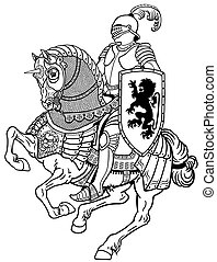 medieval knight on horse black and white
