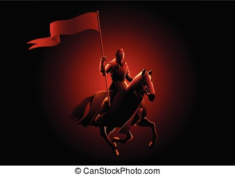 Medieval knight on horse carrying a flag - Vector...