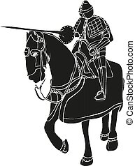 Medieval knight on horse with spear fighting Vector illustration eps10