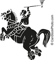 Medieval knight on horse with tomahawk fighting Vector illustration eps10