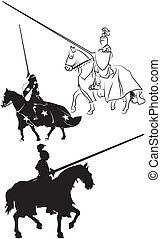 medieval knight on horseback - icon - medieval warrior in...