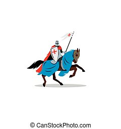 Medieval knight on horseback, preparing for joust or fight sign.
