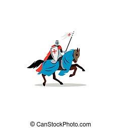 Medieval knight on horseback, preparing for joust or fight sign.