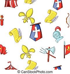 Medieval knight pattern, cartoon style
