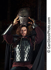 Medieval Knight - Medieval knight is going to wear a helmet....