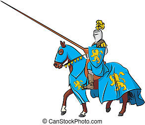 medieval knight rider - medieval warrior in armor - a...