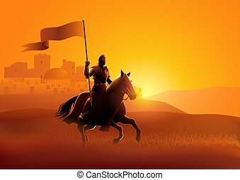 Medieval Knight Riding a Horse Carrying a Flag