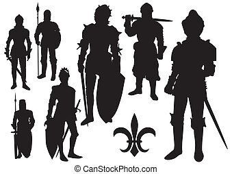 Medieval Knight silhouette isolated on a white background