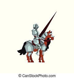 Medieval knight sitting on horse and holding lance in hand. Royal warrior in shiny armor. Flat vector design