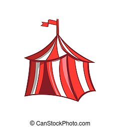 Medieval knight tent icon, cartoon style - Medieval knight...