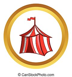 Medieval knight tent vector icon, cartoon style