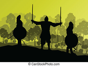 Medieval knight, warrior fight vector background