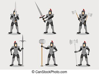 Medieval Knight Warrior in Amour Vector Character Set
