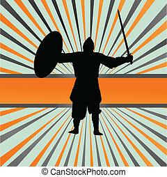 Medieval knight, warrior vector background