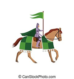 Medieval knight with green flag in steel armor at horse
