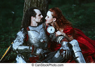 Medieval knight with lady - Medieval knight with his beloved...