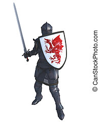 Medieval Knight with Red Dragon Shield