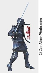 Medieval Knight with Red Dragon Shield - side view
