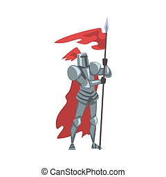 Medieval Knight with Red Flag, Chivalry Warrior Character in Full Heavy Body Armor Cartoon Style Vector Illustration