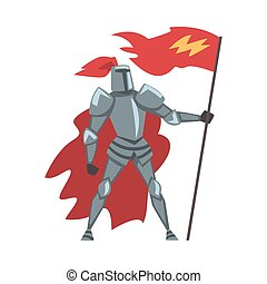 Medieval Knight with Red Flag, Chivalry Warrior Character in Full Metal Body Armor and Red Cape Cartoon Style Vector Illustration