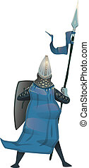 Medieval knight with shield and spear, back view. Flat vector illustration, isolated.
