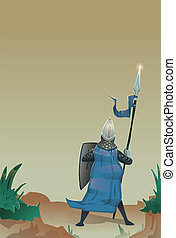 Medieval knight with shield and spear standing at the edge of precipice. Flat vector illustration, vertical.
