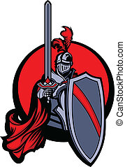 Medieval Knight Vector Mascot Holding a Shield and Sword and Wearing Armor