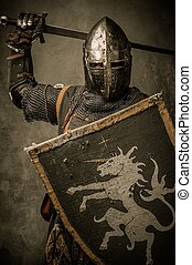 Medieval knight with sword and shield against stone wall