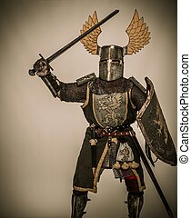 Medieval knight with sword and shield