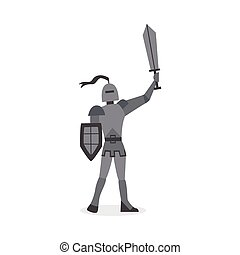 Medieval knight with sword cartoon character flat vector illustration isolated.