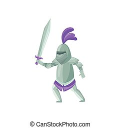 Medieval knight with sword in hand in fighting pose. Brave royal soldier. Warrior in metal armor. Flat vector design