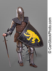 Medieval knight with Sword, Shield, Helmet against grey background