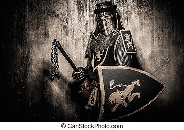 Medieval knight with weapon