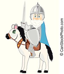Medieval knight with weapon sword on horse