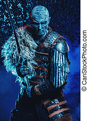 medieval knight zombie - Halloween. Frozen snow covered...