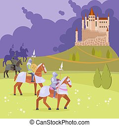 Medieval knights and castle vector illustration