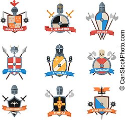 Medieval knights emblems flat icons set