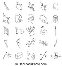 Medieval knights icons set, isometric 3d style