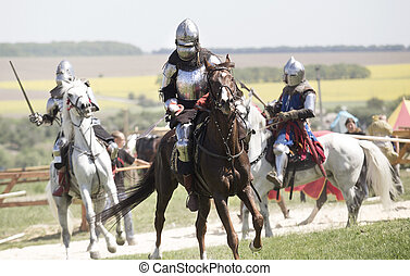 Medieval knights in battle background