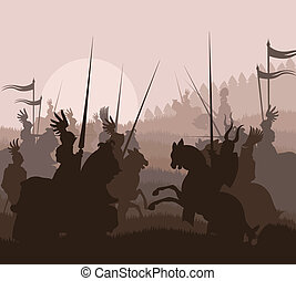 Medieval knights in battle vector background, rider leader