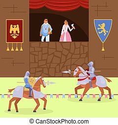 Medieval knights joust vector flat illustration