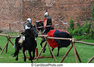 Medieval knights jousting