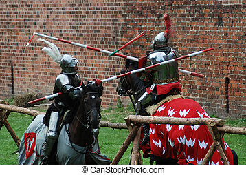 Medieval knights jousting