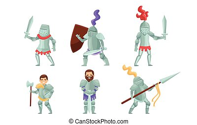 Medieval Knights Wearing Armor and Standing in a Fighting Pose Vector Set