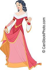 Medieval lady in red dress vector illustration