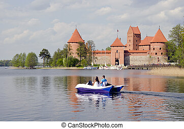 medieval Lithuanian castle Trakai in spring
