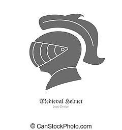Medieval logo emblem template, black simple style