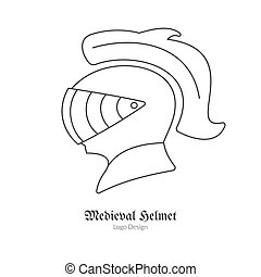 Medieval logo emblem template with outline icon